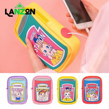 Cute Girls Carry Phone Bags Cartoon Printed Multinfunction Earphone wire hole Bags for Women Zipper Funny Pattern Coin Purse Bag