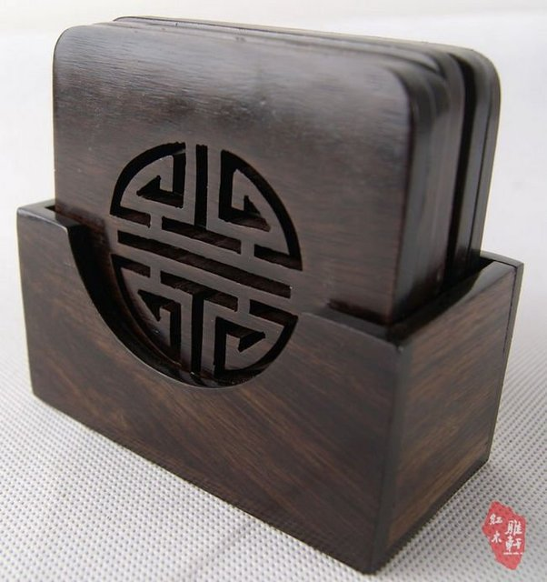 7 pcs/set  Chinese Double Lucky Wooden Cup Coaster Set,  Ideal Gifts  Best Selling