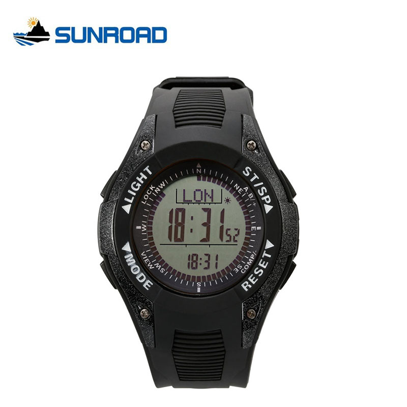 SUNROAD Barometer Weather Forecast Men Fishing Sports Watch Altimeter Thermometer Digital Watch LCD Display Compass Wristwatch sunroad fx712b digital fishing barometer watch w altimeter thermometer weather forecast time