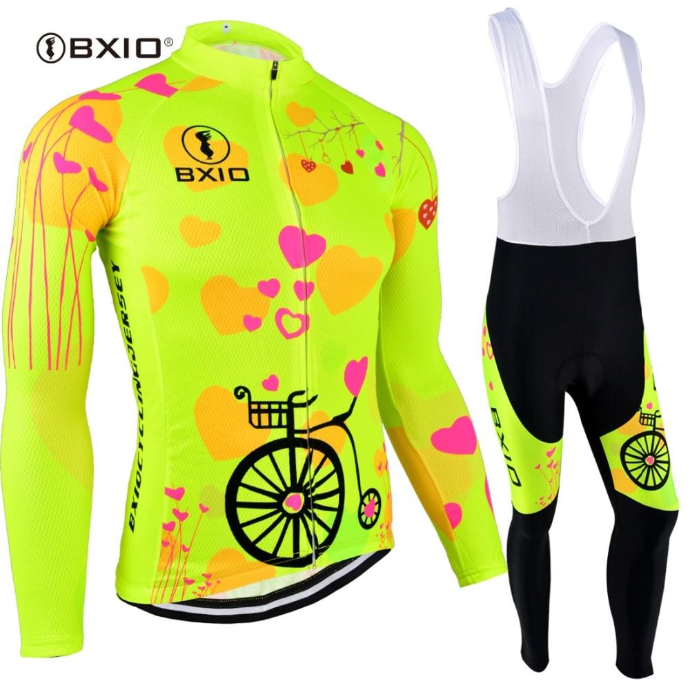 BXIO 2019 Pro Winter Thermal Fleece Woman Cycling Jerseys Sets MTB Wear Bike Wear Clothing Ciclismo Long Sleeve Bicycle 125