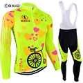 BXIO 2019 Pro hiver thermique polaire femme cyclisme maillots ensembles vtt porter vêtements de vélo vêtements Ciclismo à manches longues vélo 125