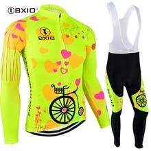 Bxio 2020 プロ冬の熱フリース女性サイクリングジャージセット mtb ジサイクリングウエアバイクウエア服 ciclismo 長袖自転車 125