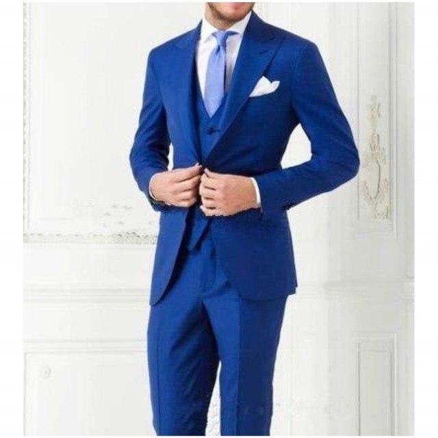 Бесплатная доставка галстук костюм мужские костюмы Синий Трех Частей Человека костюм мужская одежда Достиг Нагрудные Свадебные Платья Для Мужчин Жениха смокинги