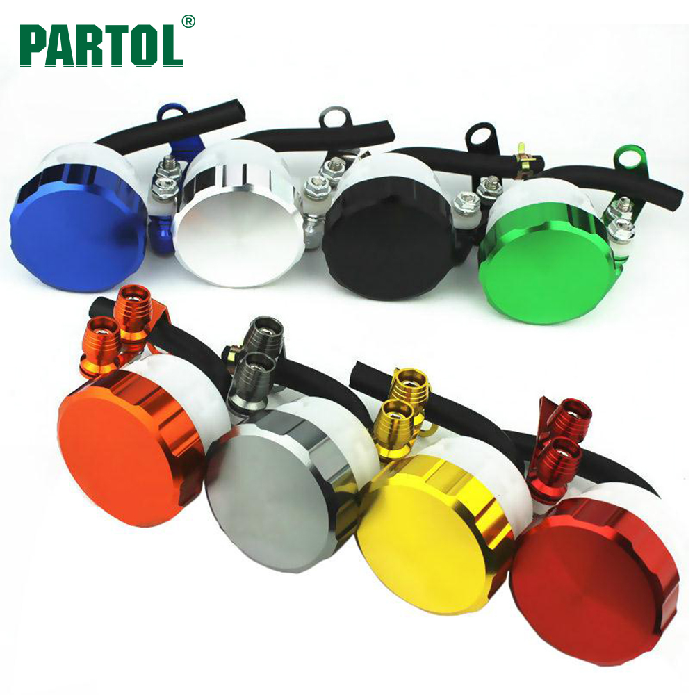 Partol Motorcycle Front Brake Fluid Reservoir Clutch Tank Oil Fluid Cup for Aprilia Ducati Honda Kawasaki Suzuki Triumph Yamaha universal oil fluid cup motorcycle brake fluid reservoir clutch tank for honda kawasaki ducati tmax 530 mt09 er6n z1000 monster
