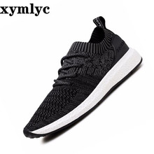 Men's sneakers mesh breathable sweat shoes summer Korean solid color round head laceup light Non-slip wear-resistant flat shoes недорого