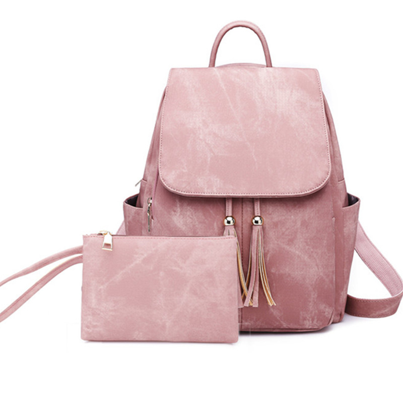New Fashion Backpack Women PU Leather Backpacks Add Small Bags For Teenage Girls School Bags Solid Black Shoulder Bag