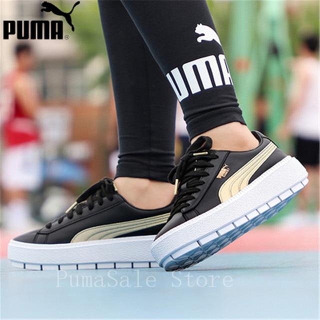 PUMA Women s Platform Trace Varsity Women s Sneaker Rihanna 4 Generation  Black And White Basket 367728-01 Women Shoes 35.5-39 1569ed695