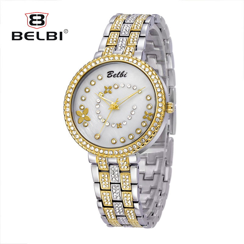 BELBI Top Brand Luxury Gold Watches Women Quartz Wristwatches Ladies Alloy Strap Watches Flower Dial Design Female Wife AAA Gift belbi top brand couples quartz watch men women valentine gift clock watches ladies 30m waterproof wristwatches