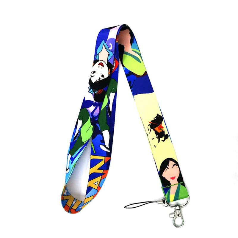 Mulan Cartoon DIY Men Women Kids Neck Lanyard Keychain Mobile Phone Strap ID Badge Holder Rope Key Chain Keyrings Cosplay