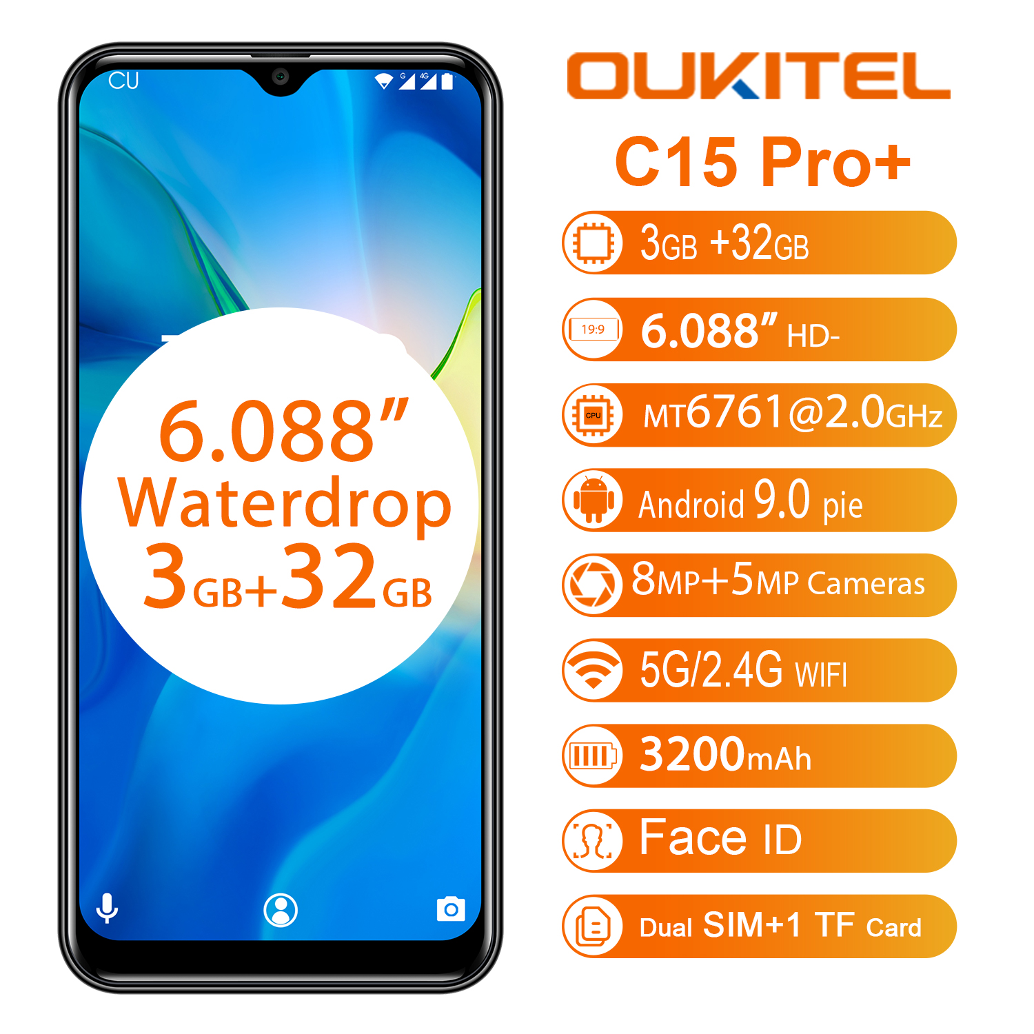 Image 2 - OUKITEL C15 Pro+ 6.088 4G Smartphone 3GB 32GB MT6761 Water Drop Screen 2.4G/5G WiFi Mobile Phone C15 Pro + Fingerprint Face ID-in Cellphones from Cellphones & Telecommunications