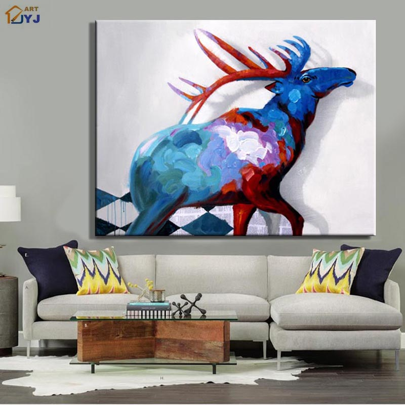 Newest the Elk Picture Hand Painted Modern Abstract Canvas Wall Art Home Decoration Direct from Artist Gift No Framed M01