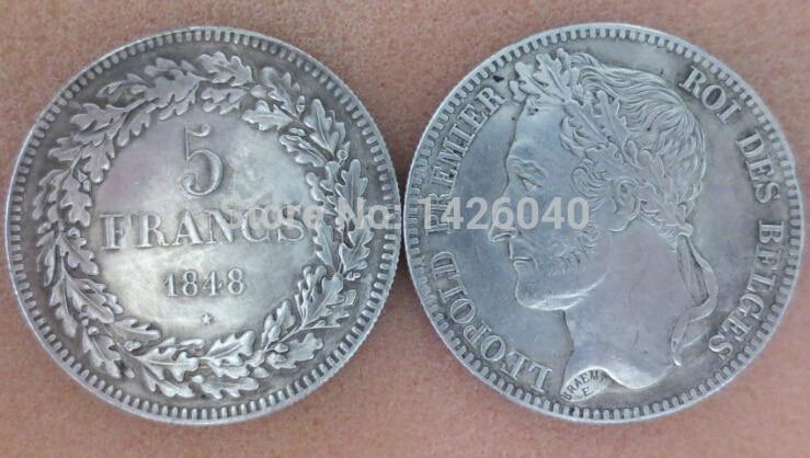 Редкие Монеты 1848 Франция посеребренная 5 франков НАПОЛЕОН ROUEN MINT Копировать Монет