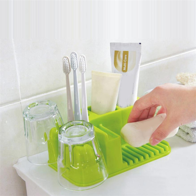 1 Set Bathroom Washable Storage Rack Toothbrush Toothpaste storage holder Rack Box Soap Dish Multi Purpose Cup Racks sale