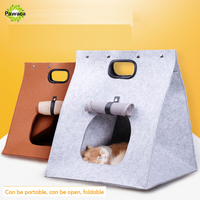 3 In 1 Multifunctional Folding Portable Wool Felt Cave Pet Bed Travel Cat Bag For Dog