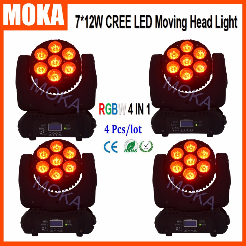 4 Pcs/lot 4IN1 RGBW Color System LED 7*12W Moving Head Beam Spot Stage Effect Angle Adjustable Light DMX512 Master Slave Auto|moving head beam spot|moving head|head beam - title=
