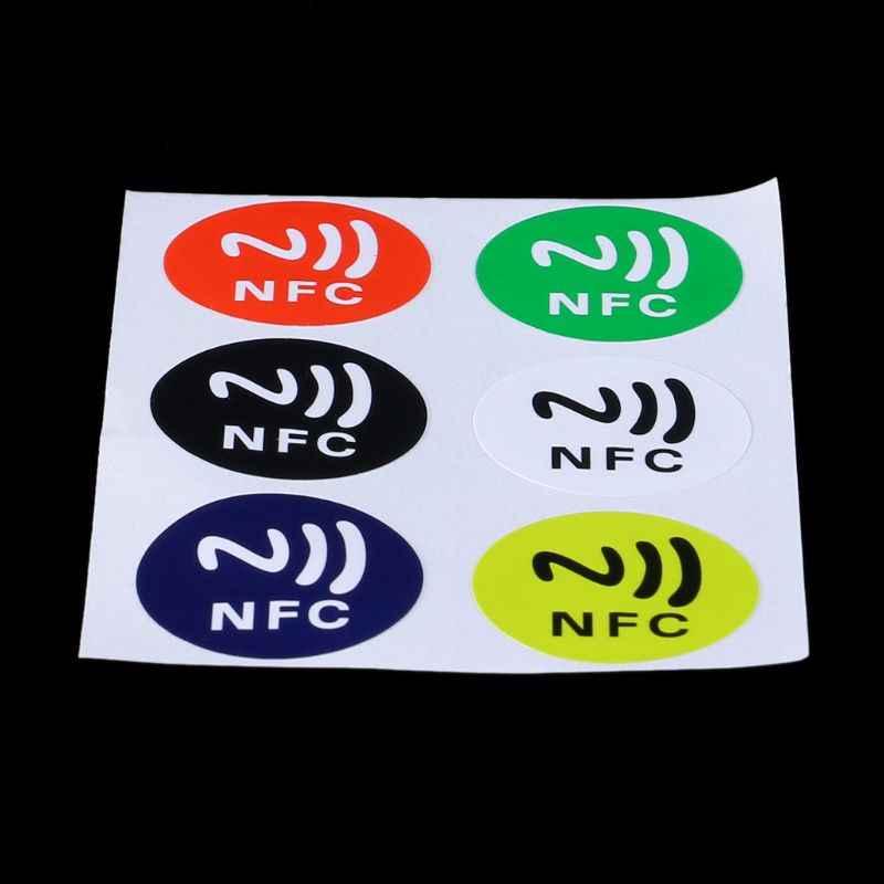 6Pcs Tahan Air Bahan PET NFC Stiker Smart Perekat Ntag213 Kategori untuk Semua Ponsel