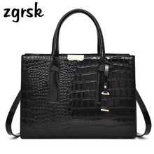 Fashion Women Totes Pu Leather Famous Brands Handbag Casual Crocodile Top Handle Bag High Quality Shoulder Messenger Bag Sac 2017 new women leopard handbag famous brand vintage shoulder bag casual high quality pu leather tassel totes bag bolsas mujer