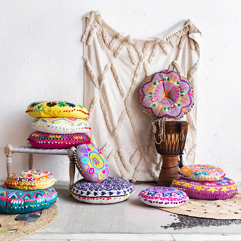 Bohemian Style Tatami Ottoman Cushion Embroidered Upholstery Small 40*40*7 cm/ Large 55*55*10 cm 7 11 cm