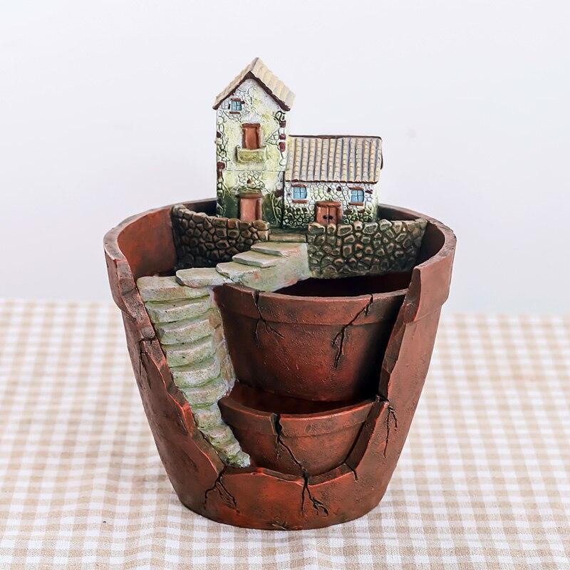 Image 2 - Roogo Fairy House Pots For Flowers Resin Sky Garden Flowerpot Home Garden Decorative Flower Pots Succulents Bonsai Pot-in Flower Pots & Planters from Home & Garden