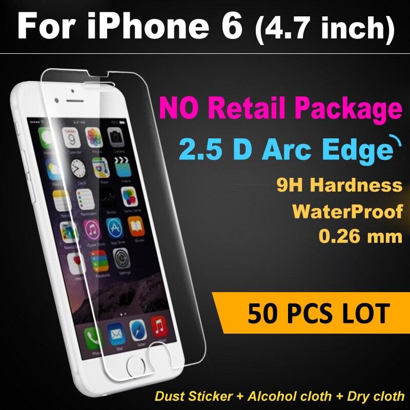imágenes para X 50 unids lot ultra thin hd 2.5d para iphone 6 6 S Protector de Pantalla de Cristal Templado 0.3mm Frente Película Protectora Al Por Menor No paquete