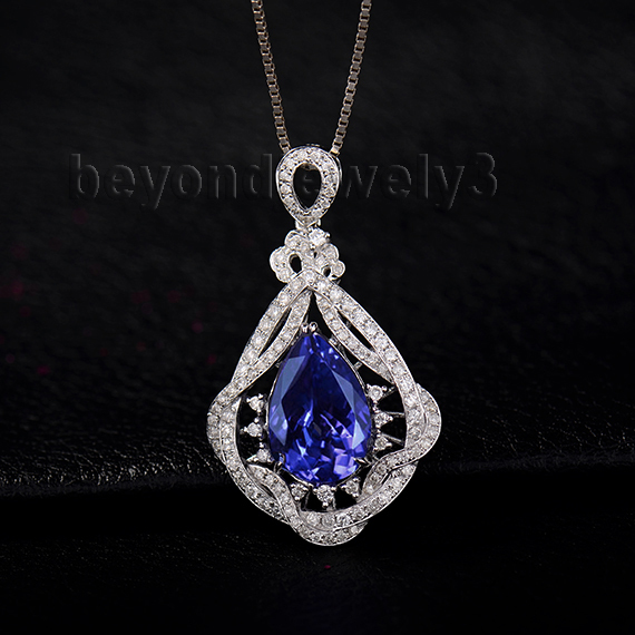 Luxury natural gemstone pendant 14k white gold pear cut 9x13mm luxury natural gemstone pendant 14k white gold pear cut 9x13mm tanzanite pendant for engagement party wp064 in pendants from jewelry accessories on aloadofball Image collections