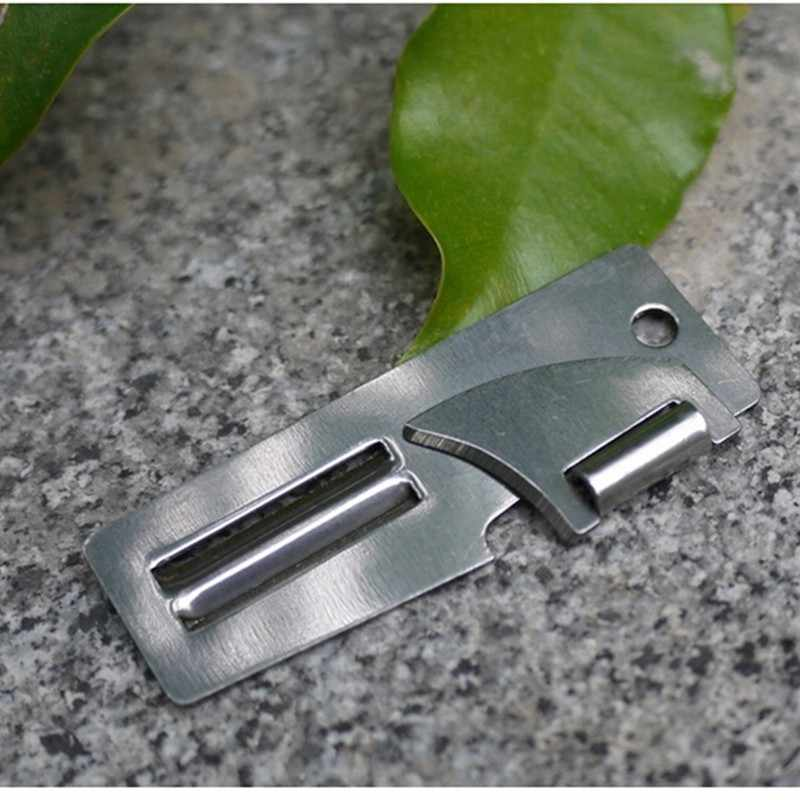 "New Stainless Steel 2 in 1 EDC Pocket Multi Tool Outdoor Can Opener Fruit Multi Peeler Cutter 2"" Double Peeler"
