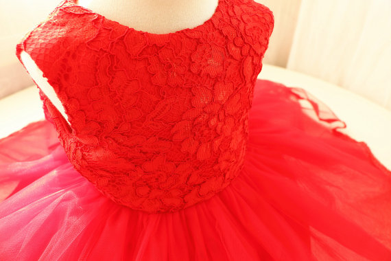 ФОТО Hot red tulle ball gown baby dress with lace appliques kids pageant party dress sweet Princess dress with bow birthday outfits