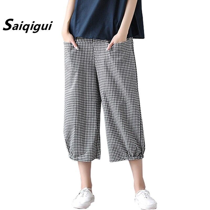 Saiqigui 2019 Women   Pants   Ankle-Length   Pants   Elastic waist Casual loose Cotton Linen   pants   Vintage Plaid   Wide     Leg     Pants