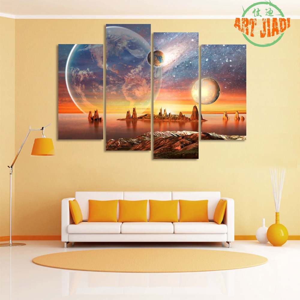 4 Piece/set Canvas Art Alien Planet With planets Moon And Mountains ...