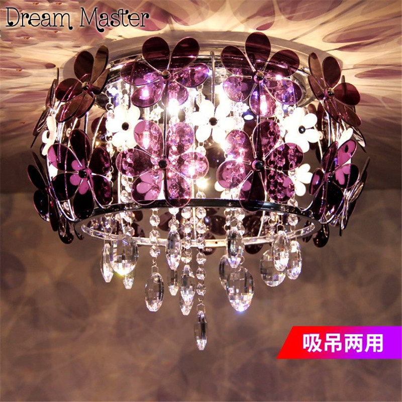 Modern simple flower crystal lamp romantic European style bedroom  ceiling lamp garden dining room lamp   originality lamp european style garden princess bedroom bedside lamp shade cloth fabric floral lace crystal simple dimmable