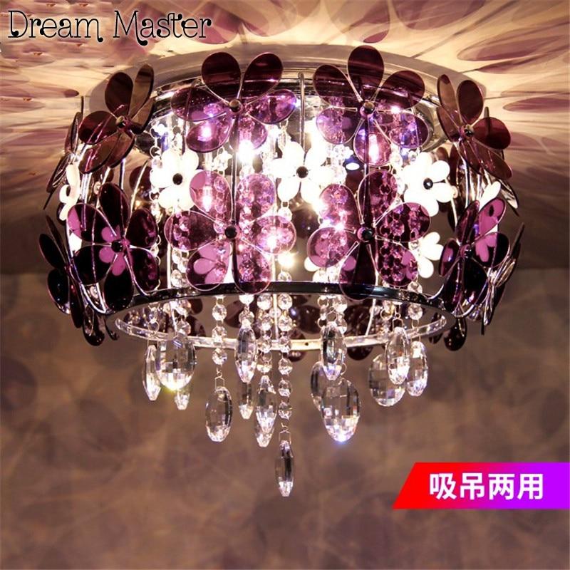 Modern simple flower crystal lamp romantic European style bedroom  ceiling lamp garden dining room lamp   originality lamp crysta lamp pendant lights lounge dining room bedroom lamp lychee simple new european style warm crystal hanging lamp