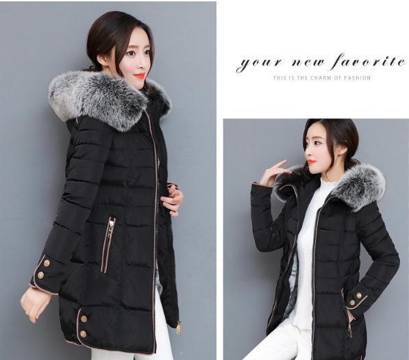 2018 The new Korean version of the long version of the thickening body, large wool collar cotton clothes NN1709. 5