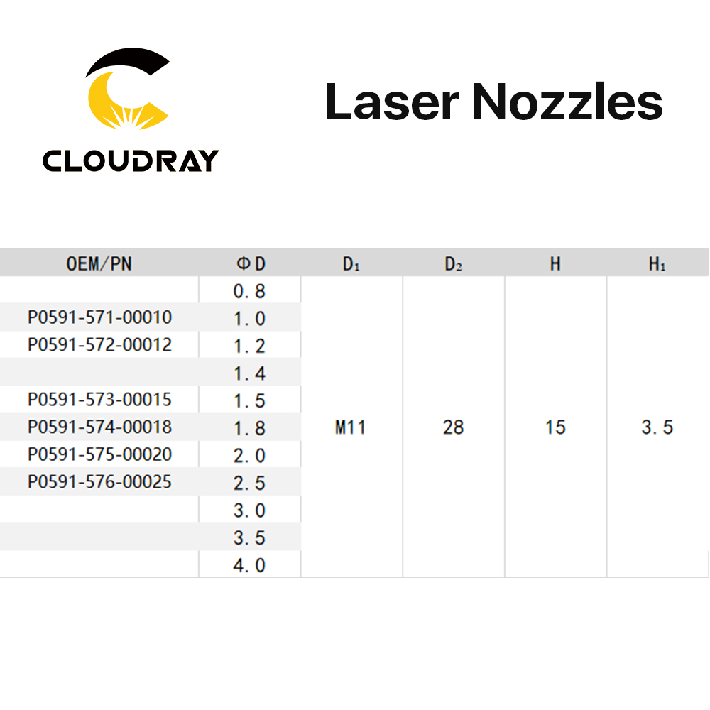 Cloudray Laser Nozzle Single Double Layer Dia 28mm Caliber 0 8 6 0 P0591 571 0001 for Precitec WSX FIBER Laser Cutting Head in Welding Nozzles from Tools
