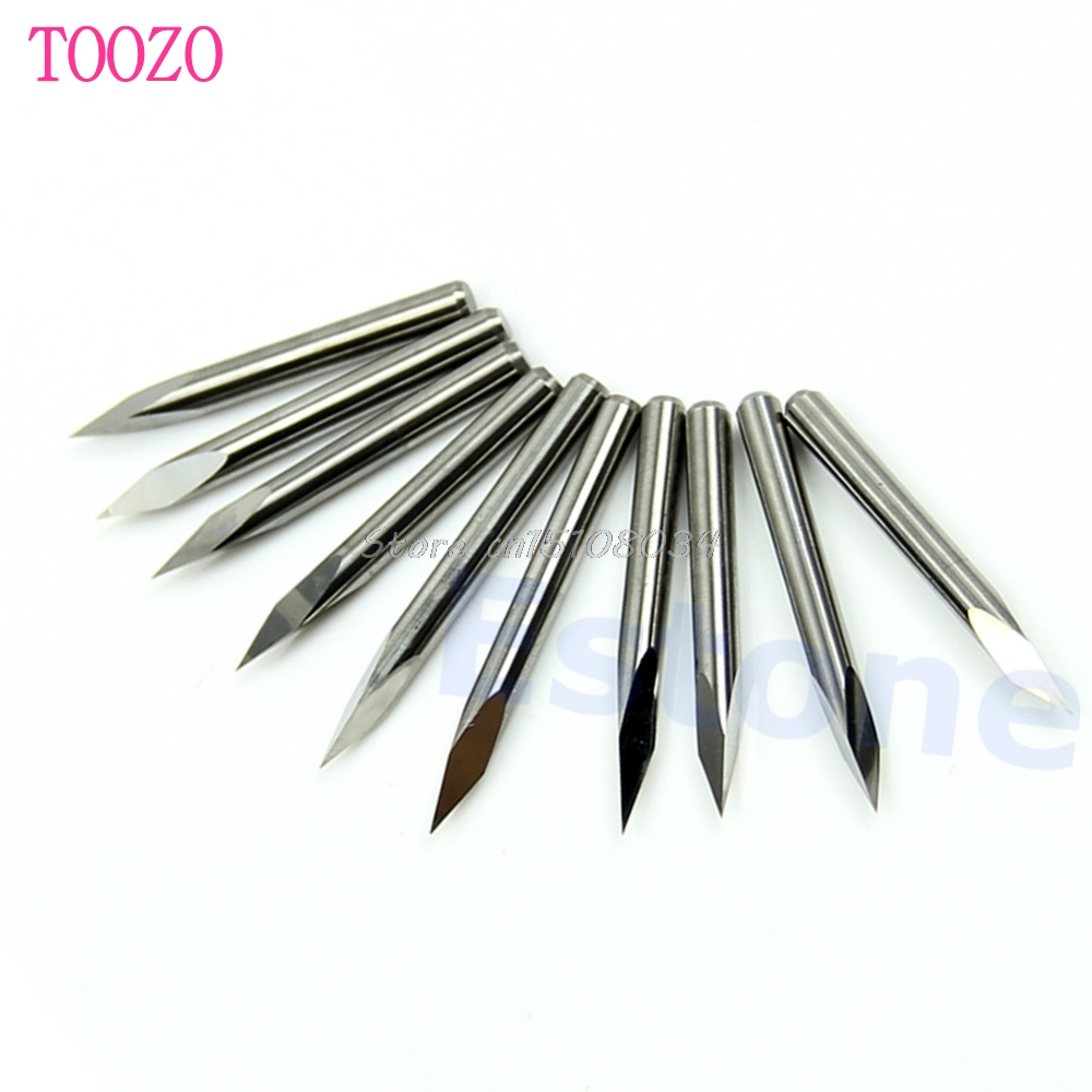 10pc 3175mm Carbide Drill Bits Micro Engraving Cnc Pcb Endmill 10pcs 03 12mm Print Circuit Board Bit Tool New 01mm 15 Degree Steel Pyramid Router S08 Drop
