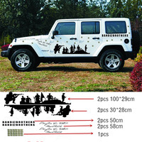 2015 New Arrive 1SET Car Whole Body Car Stickers Cool Bend of Brothers Car styling Car Door Tail Decals for JEEP Hummer Stickers