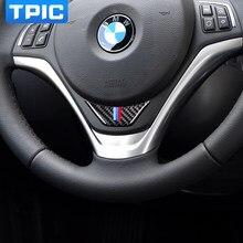 Para bmw e84 x1 2011-2015 interior do carro de fibra de carbono volante adesivo m listra emblema 3d etiqueta do carro estilo do carro acessórios