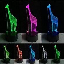 Amusing 3D African Animal Giraffe Desk Lamp Vision 7 Color Gradient LED Night Light Home Bedroom Decor Child Kids Novel Gifts