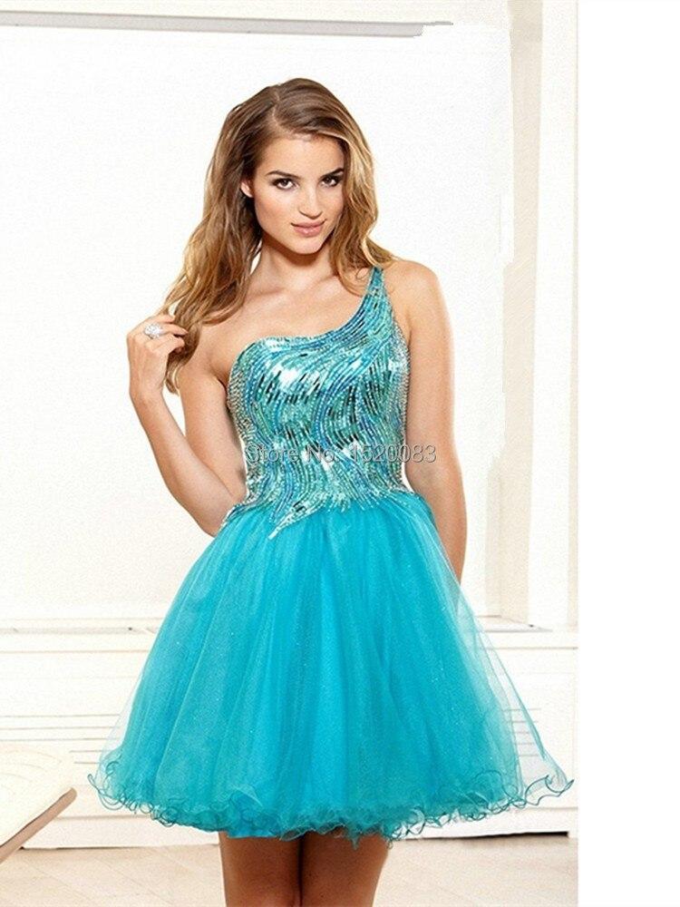 Aliexpress.com : Buy Shiny Light Blue Cocktail Dresses One Shoulder Vestido De Festa Crystal ...