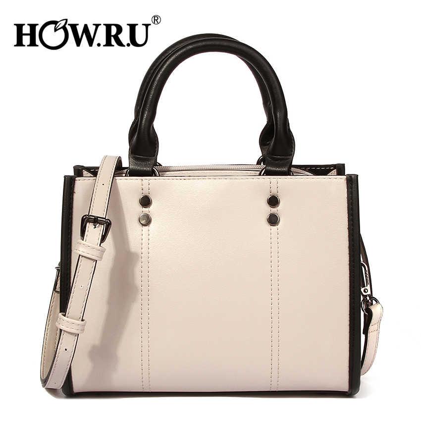 001afaf3eb24 HOWRU marca remache de las mujeres bolsas casuales de la PU bolsos de cuero  de lujo