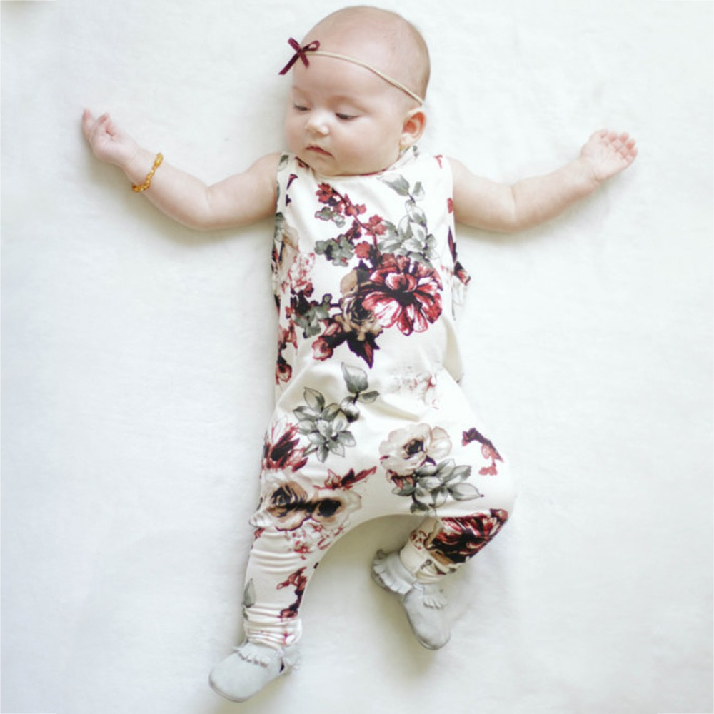 Kids Baby Girls Clothes 2017 Summer Sleeveless Peony Flower Baby