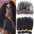 4 Bundles Indian Curly Weave With Closure Full Frontal Lace Closure 13x4 With Bundles Indian Remy Hair Bundles With Lace Closure