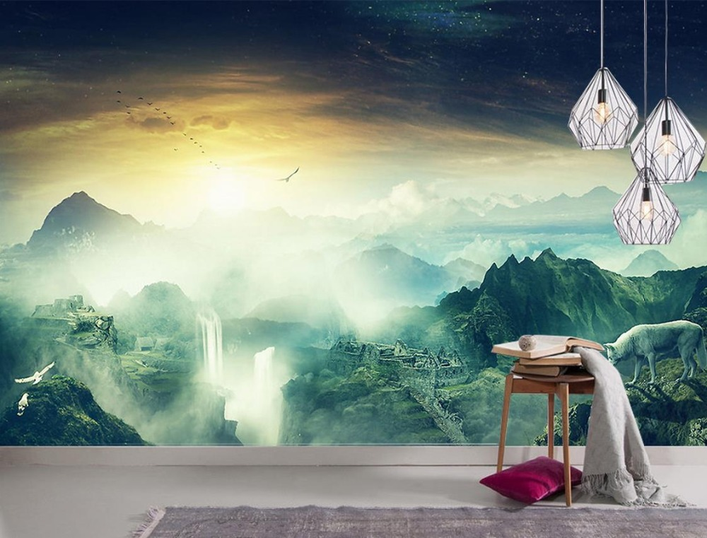 Custom wallpaper for walls 3 d photo Nature forest waterfall scenery 3d nature wallpapers for living room custom wallpaper for walls 3 d photo wall mural pastoral country road tv walls 3d nature wallpapers for living room