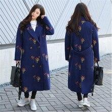 2016 Autumn Winter Han edition Loose Fashion Embroidery Woolen cloth Coat Temperament Long sleeve Medium long Women Coat G1719