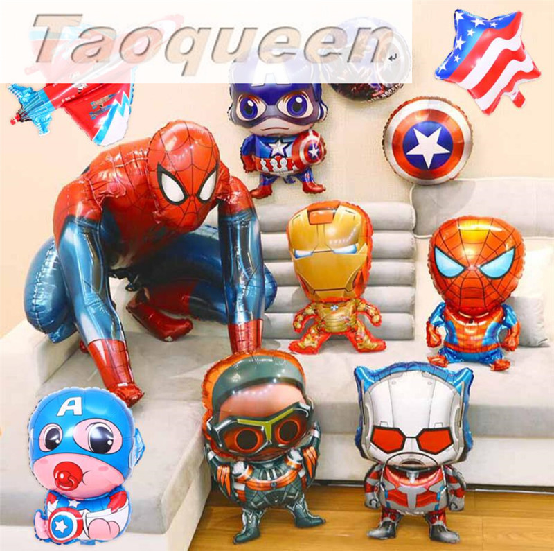 The Avengers Foil Balloons Super Hero Helium Globos Captain America Superman Ballon For Boy's Birthday Supplies Cartoon Hat