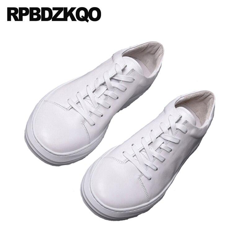f738108a285ae Verano nueva Lace Up zapatillas enredaderas zapatos de marca pisos Casual pista  zapatillas cuero Real blanco lujo Skate goma genuino en Calzado casual de  ...