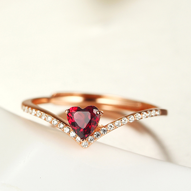 0.3ct Natural Garnet Wedding Party Rings for Women Jewelry Real Silver 925 Ring Female Romantic Heart Wedding Engagement Rings