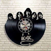 ACDC Music Vinyl Wall Clock Art Gift Room Modern Home Record Vintage Decoration LED with 7colors