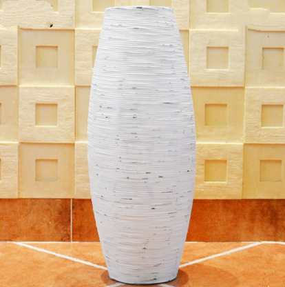 Chinese White & Brown Grey Bamboo Floor Vase Large Handcraft Big Home Decor Craft Flower Pot For Wedding Decoration Floor Vase
