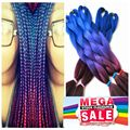 "100g/pc 24"" Blue Purple Burgundy Ombre Kanekalon Braiding Hair Synthetic Two Tone Kanekalon Jumbo Braid Hair Extensions"