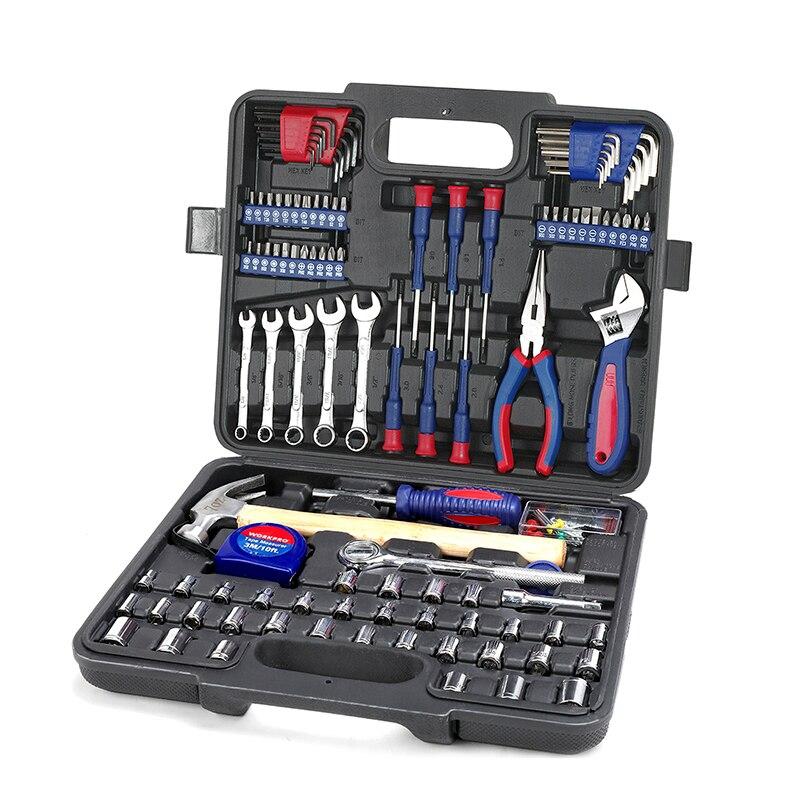 WORKPRO 165 PC outil domestique Ensemble Des Ménages kit d'outils clé à cliquet Prises ensemble tournevis de précision Bits Set Hex Clé Marteau